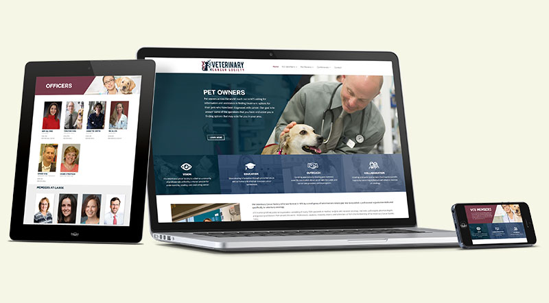Veterinary Cancer Society Website Design on Various Devices