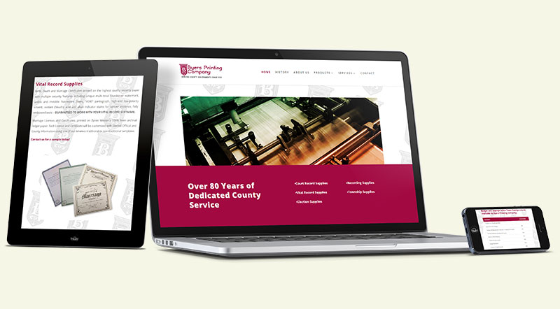 Byers Printing Company Website Design